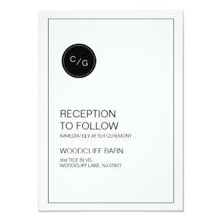 Black and white modern wedding reception card 11 cm x 16 cm invitation card
