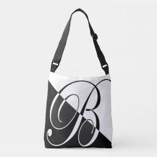 Black and White Monogram B Crossbody Bag