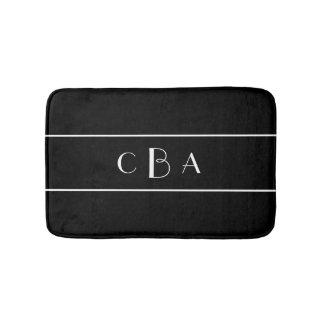 Black and White Monogram Bath Mat