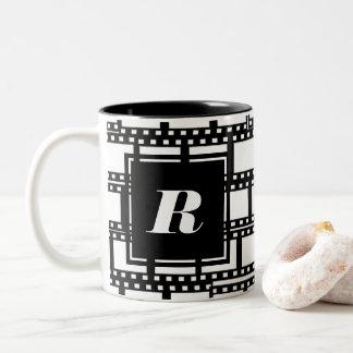 Black and White Monogram Design for Movie Lovers Two-Tone Coffee Mug