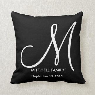 Black and White Monogram Family Wedding Square Cushion