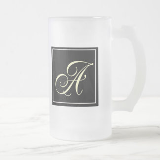 Black and White Monogram Gifts Frosted Glass Mug