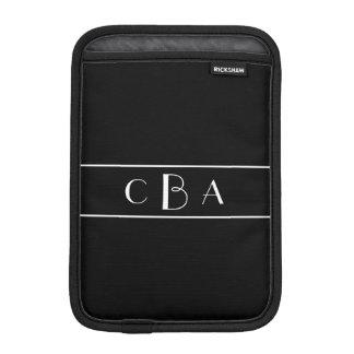 Black and White Monogram iPad Mini Sleeve