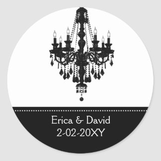 black and white Monogram label Round Sticker