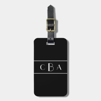 Black and White Monogram Luggage Tag