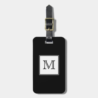 Black and White Monogram Luggage Tag