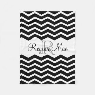 Black and White Monogram Name Keepsake Chevron Fleece Blanket