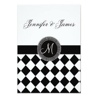 Black and White Monogram Names Wedding Invitation