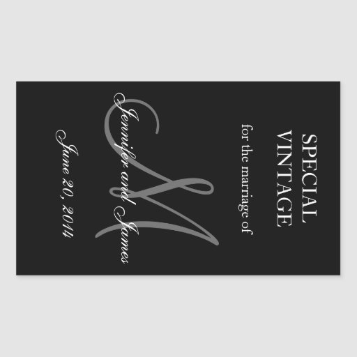 Black and White Monogram Rectangle Wedding Labels Rectangle Stickers