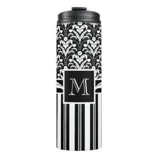 Black and White Monogram Retro Floral Damask Thermal Tumbler