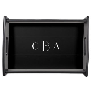 Black and White Monogram Serving Tray