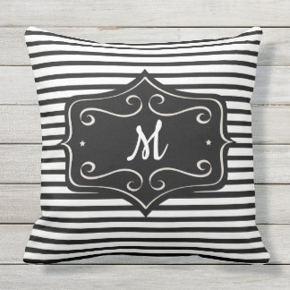 Black and White Monogram Striped Outdoor Pillow
