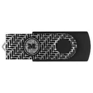 Black and White Monogram Swivel USB 3.0 Flash Drive