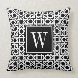 Black and White Monogram trellis weave Cushion