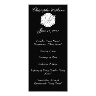 Black and White Monogram Wedding Ceremony Program Rack Card
