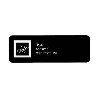 Black and White Monogram Wedding Return Address Label