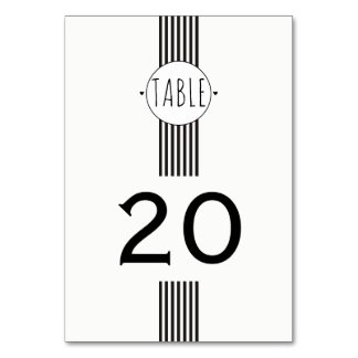 Black and white monogram wedding table number table card