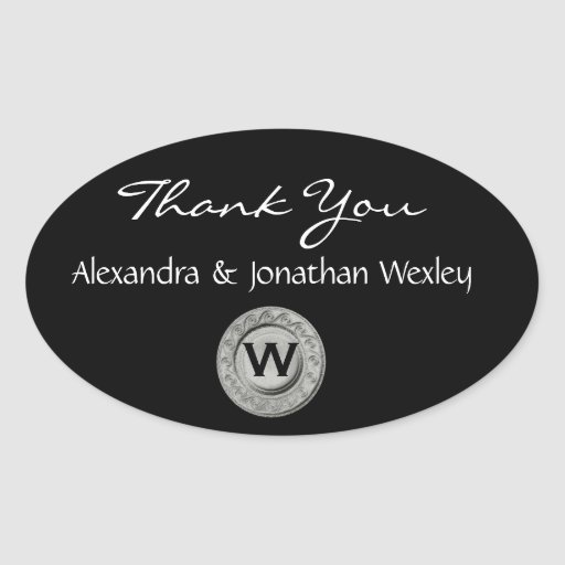 Black and White Monogram Wedding Thank You G200 Sticker
