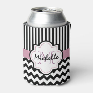 Black and white monogrammed can cooler