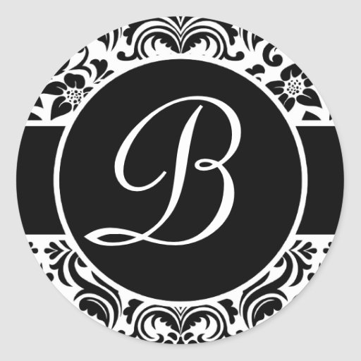Black and White Monogrammed Personal Seals Sticker