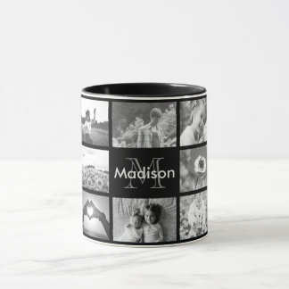 Black and white monogrammed photo template mug