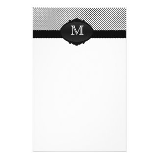 Black and White Monogrammed Pinstripe Stationery