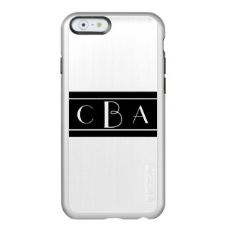 Black and White Monogrammed Incipio Feather® Shine iPhone 6 Case