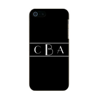 Black and White Monogrammed Incipio Feather® Shine iPhone 5 Case