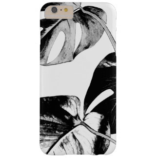 Black and white monstera leaves tropical exotic barely there iPhone 6 plus case