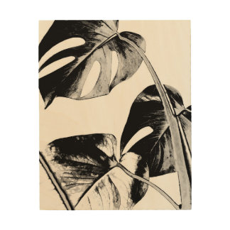 Black and white monstera leaves tropical exotic wood wall art