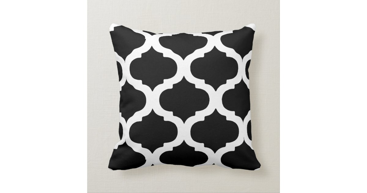black and white moroccan bold pattern cushion zazzle best sofa material for dog owners best fabric couch for pets