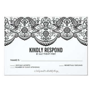 Black and White Moroccan Lace Pattern RSVP Card 9 Cm X 13 Cm Invitation Card