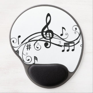 Black and White Mouse Pad with Music Notes Gel Mouse Pad