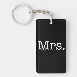 Black and White Mrs. Wedding Anniversary Quote Key Ring