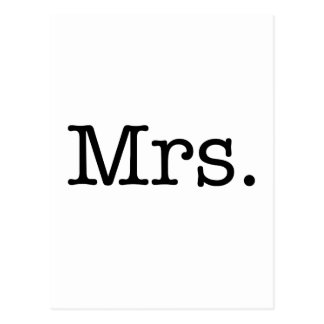 Black and White Mrs. Wedding Anniversary Quote Postcard
