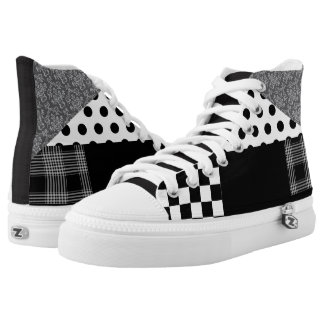 Black and White Multi Pattern Crazy Sneakers
