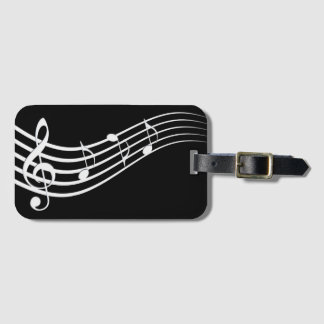 black and white music melody luggage tag