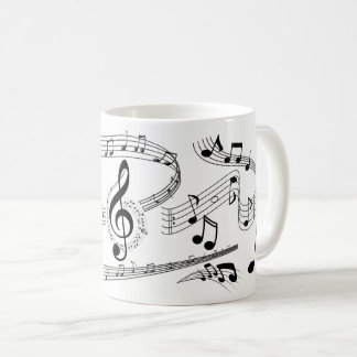 Black and White Music Note Gallery with Large Clef Coffee Mug