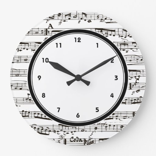 Black and white music notes clock with numbers