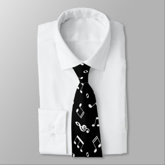 Black and White Music Notes Pattern Tie