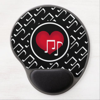 Black and white music notes red heart custom gel mouse pad
