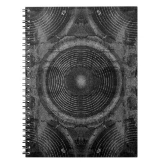Black and white music speakers notebook