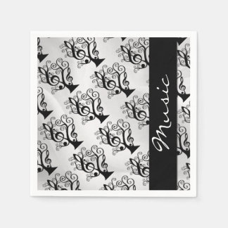 Black and White Music Treble Clef Tree Napkins Standard Cocktail Napkin