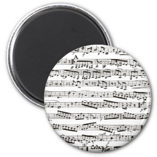 Black and white musical notes 6 cm round magnet
