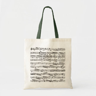 Black and white musical notes budget tote bag