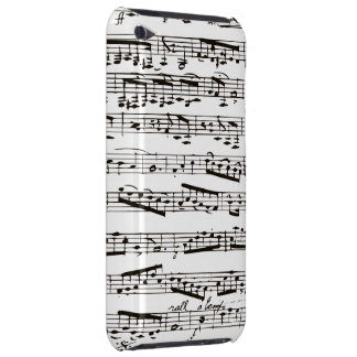 Black and white musical notes iPod touch case