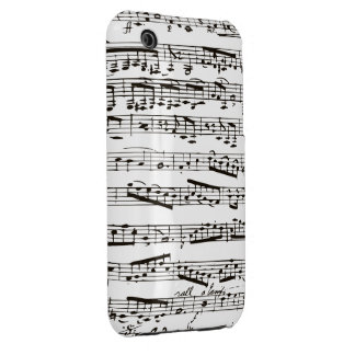 Black and white musical notes iPhone 3 case