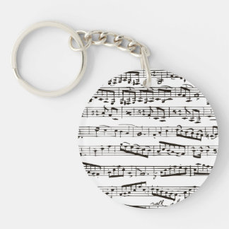 Black and white musical notes Double-Sided round acrylic keychain
