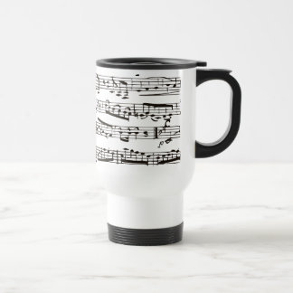 Black and white musical notes stainless steel travel mug