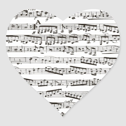 Black and white musical notes heart stickers